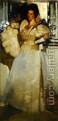 Opal and Grey Portrait of Miss Rachel White 1897 by Arthur Melville - Reproduction Oil Painting