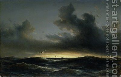 Marine Solitude 1852 by Anton Melbye - Reproduction Oil Painting