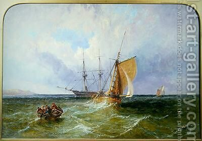 Shipping off the Coast 1871 by James Edwin Meadows - Reproduction Oil Painting