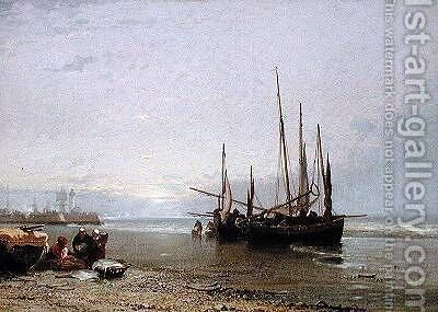 Luggers on the Beach at Treport 1885 by Arthur Joseph Meadows - Reproduction Oil Painting