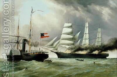 C.S.S. Nashville capturing and burning the English Merchantman Harvey Birch 1864 by Duncan Mcfarlane - Reproduction Oil Painting