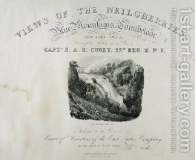 The Elk Cataract Dimhutty title page for View of the Neilgherries or Blue Mountains of Coimbetoor Southern India by Captain McCurdy by (after) McCurdy, Captain E. A. - Reproduction Oil Painting