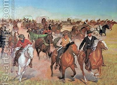 Oklahoma Land Rush 1889 by H.C. McBarron - Reproduction Oil Painting