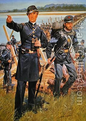 Federal Uniforms of 1863 Engineer Officer and Infantry Sergeant by H.C. McBarron - Reproduction Oil Painting