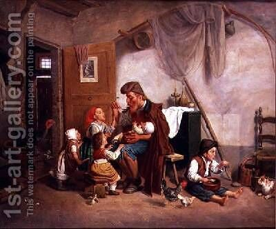 The widowed family by Giuseppe Mazzolini - Reproduction Oil Painting
