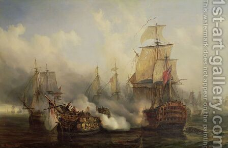 The Redoutable at Trafalgar 21st October 1805 by Auguste Etienne Francois Mayer - Reproduction Oil Painting