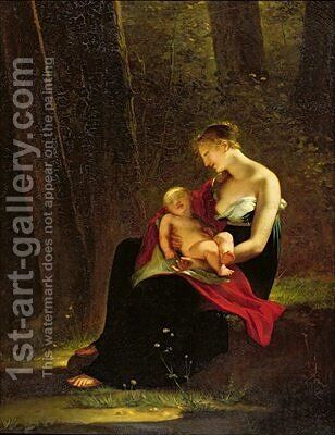 The Happy Mother by Constance Marie Mayer-Lamartiniere - Reproduction Oil Painting