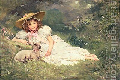 The Little Shepherdess by Arthur Dampier May - Reproduction Oil Painting