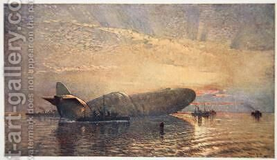 St George and the Dragon Zeppelin L15 in the Thames April 1916 by (after) Maxwell, Donald - Reproduction Oil Painting
