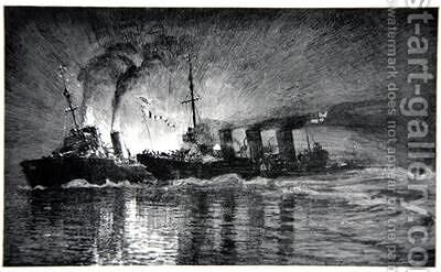 Broke ramming the German Destroyer illustration from The Naval Front by Gordon S Maxwell 1920 by (after) Maxwell, Donald - Reproduction Oil Painting