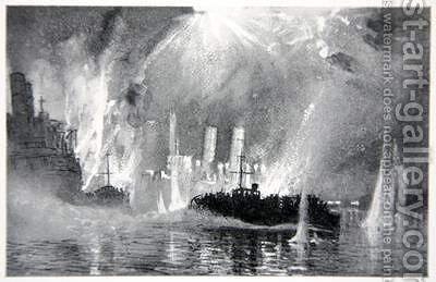 Motor Launches rescuing crews of the Blockships at Zeebrugge by (after) Maxwell, Donald - Reproduction Oil Painting