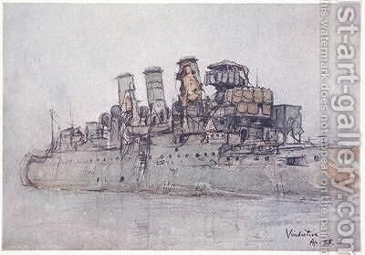 HMS Vindictive April 25th 1918 illustration from The Naval Front by Gordon S Maxwell 1920 by (after) Maxwell, Donald - Reproduction Oil Painting
