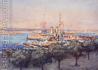 HMS Queen Trawlers and Drifters Taranto illustration from The Naval Front by Gordon S Maxwell 1920 by (after) Maxwell, Donald - Reproduction Oil Painting