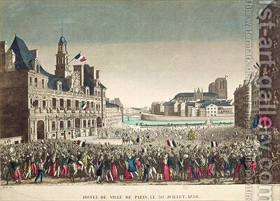 The Arrival of the Duke of Orleans at the Hotel de Ville 31st July 1830 by (after) Mavski - Reproduction Oil Painting