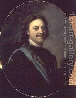Portrait of Peter I after 1725 by Andrei Matveyev - Reproduction Oil Painting