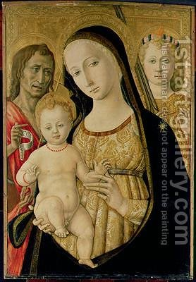 Madonna and Child with St John the Baptist and St Michael the Archangel 1485-95 by di Giovanni di Bartolo Matteo - Reproduction Oil Painting