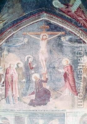 The Crucifixion detail from the centre from the chapel of St John 1347 by di Giovanetto da Viterbo Matteo - Reproduction Oil Painting