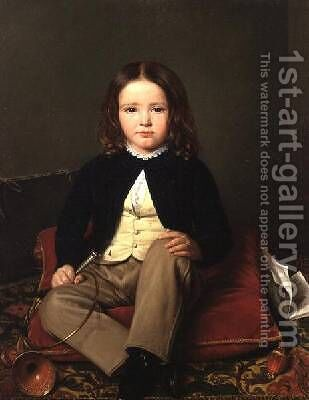 Portrait of a Boy seated on a Cushion holding a Horn by Charles Paulin Francois Matet - Reproduction Oil Painting