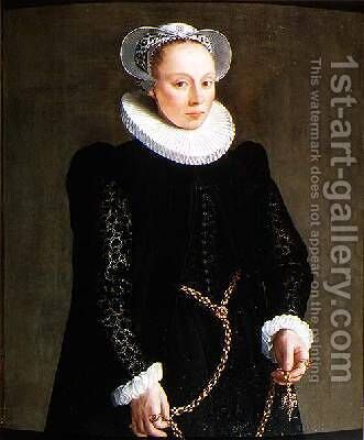 Portrait of a lady aged 24 1587 by Herman van der Mast - Reproduction Oil Painting