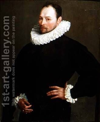 Portrait of a Gentleman aged 33 1589 by Herman van der Mast - Reproduction Oil Painting