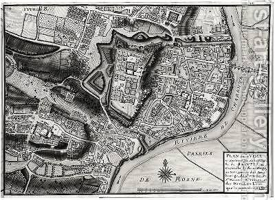 Atlas 131 F fol8 Map of Saintes capital of Saintonge from Receuil des Plans de Saintonge 1716 by Claude Masse - Reproduction Oil Painting