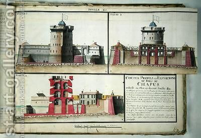 Cross-section and elevations of the Chapus Fort from Traite de Fortifications 1720 by Claude Masse - Reproduction Oil Painting