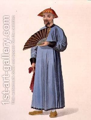 A Mandarin in his Summer Dress plate 31 from The Costume of China by (after) Mason, Major George Henry - Reproduction Oil Painting