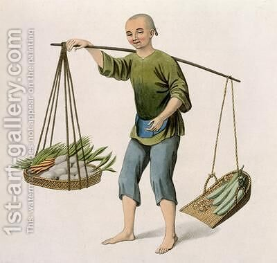 A Boy with Vegetables by (after) Mason, Major George Henry - Reproduction Oil Painting