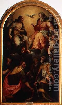 The Holy Trinity with Saints by da San Friano Maso - Reproduction Oil Painting