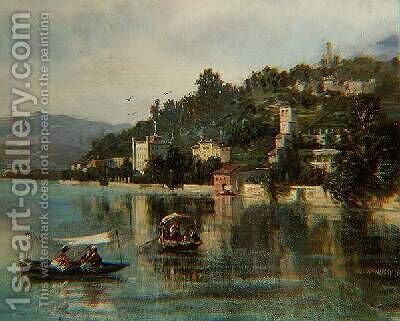 Lake Como by Gustave Mascart - Reproduction Oil Painting
