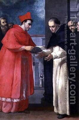A Cardinal Gives a Bull to a Dominican Saint by (attr.) Mascagni, Donato (Fra Arsenio) - Reproduction Oil Painting