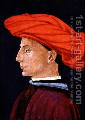 A Young Man in a Scarlet Turban 1425-27 by (attr. to) Masaccio, Tomasso - Reproduction Oil Painting