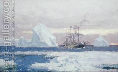 The Argentine Corvette Uruguay in the Antarctic by Eduardo de Martino - Reproduction Oil Painting
