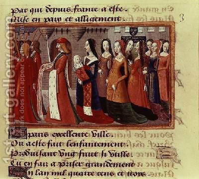 Presentation of the Dauphin 1403-61 the future Charles VII of France to the City of Paris from the Vigils of Charles VII 1484 by de Paris (known as Auvergne) Martial - Reproduction Oil Painting