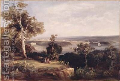 Wooded landscape with a distant view of Sydney by Conrad Martens - Reproduction Oil Painting
