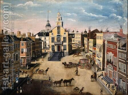 Old State House Boston 1801 by James Brown Marston - Reproduction Oil Painting