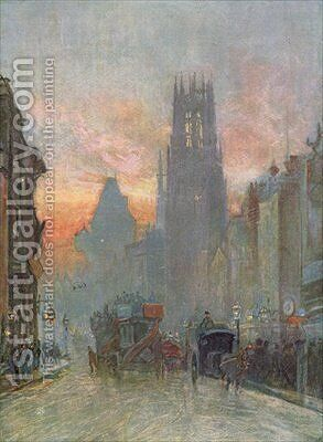 View looking down Fleet Street London late 19th century by Herbert Menzies Marshall - Reproduction Oil Painting