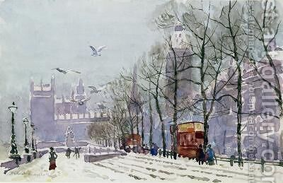 A Winters Day Westminster by Herbert Menzies Marshall - Reproduction Oil Painting