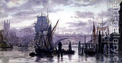 On the Thames by Herbert Menzies Marshall - Reproduction Oil Painting