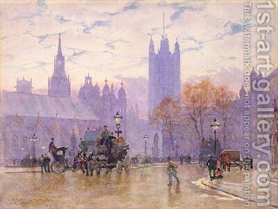Morning in Parliament Square 1889 by Herbert Menzies Marshall - Reproduction Oil Painting