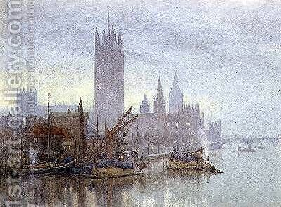 Twilight from Lambeth Bridge by Herbert Menzies Marshall - Reproduction Oil Painting