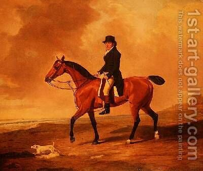 Francis Const on a bay hunter by Benjamin Marshall - Reproduction Oil Painting
