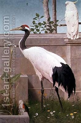 Manchurian Crane Cockatoo and Robin by Henry Stacy Marks - Reproduction Oil Painting