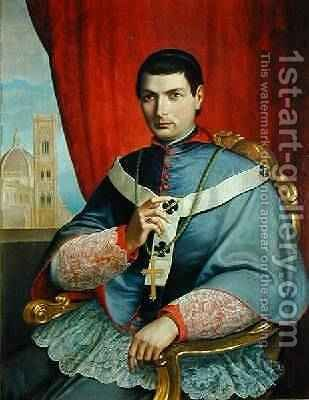 Portrait of Monsignor Giovacchino Lamberti Archbishop of Florence 1857 by Antonio Marini - Reproduction Oil Painting
