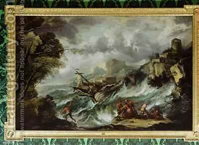 Seascape with Shipwreck 2 by Antonio Marini - Reproduction Oil Painting