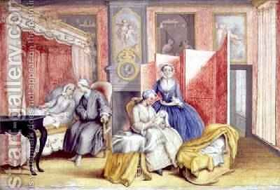 Joseph II 1741-90 at the bedside of his wife Isabella of Parma following the birth of their daughter Maria Theresa 1762-1770 1762 by Archduchess of Austria Maria Christine - Reproduction Oil Painting