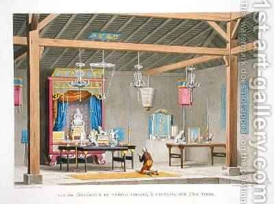 View of the interior of the Chinese Temple at Kupang on the Island of Timor by (after) Marchais, Pierre Antoine - Reproduction Oil Painting