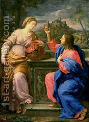 Christ and the Woman from Samaria by Carlo Maratta or Maratti - Reproduction Oil Painting
