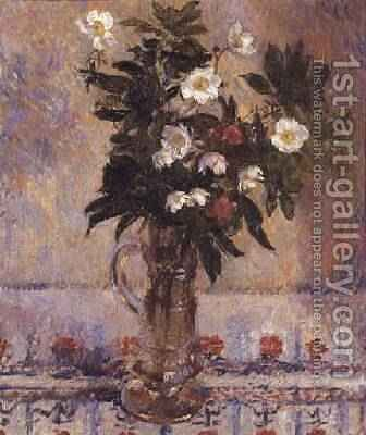 Flowers in a Glass Vase by James Manson - Reproduction Oil Painting