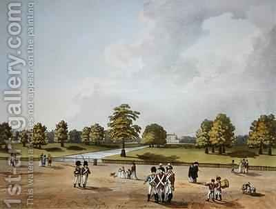 A View in St Jamess Park of Buckingham House by (after) Mannskirsch, Franz Joseph - Reproduction Oil Painting